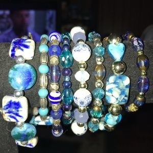 Jewelry - New Lampwork Beaded Bracelets Shades of Blue